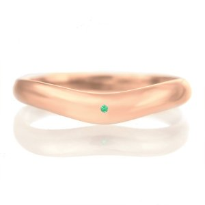 結婚指輪 マリッジリング 18金 ピンクゴールド つや消し マット 甲丸 V字 天然石 エメラルド