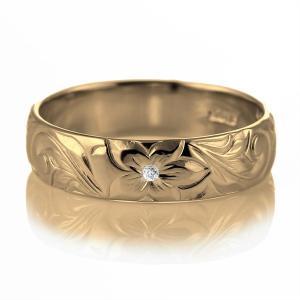 ハワイアンジュエリー マリッジリング 結婚指輪 ダイヤモンド リング K18イエローゴールド セール|suehiro