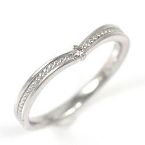 ピンキー リング ミディリング ダイヤモンド指輪 ホワイトゴ...