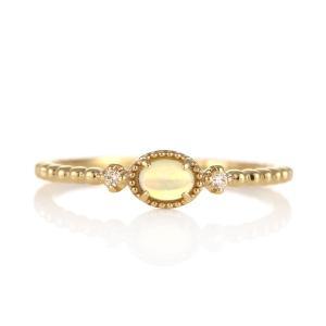 指輪レディース オパール リング 天然石 ダイヤモンド 指輪 18金|suehiro