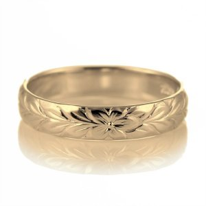 ハワイアンジュエリー メンズ 指輪 イエローゴールド 18金 幅約4mm マイレ セール|suehiro