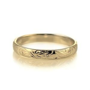 ハワイアンジュエリー メンズ 指輪 イエローゴールド 18金 幅約3mm スクロール セール|suehiro