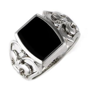 18金 指輪メンズ リング K18 ホワイトゴールド ブラックオニキス【今だけ代引手数料無料】 suehiro