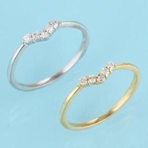 ダイヤモンド指輪 ピンキーリング 指輪 V字 ダイヤモンド ...