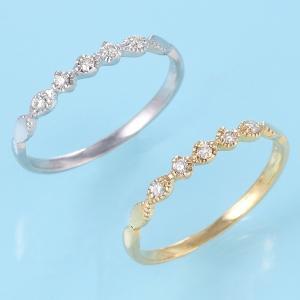 ピンキーリング ダイヤモンド 10金 ホワイトゴールド イエ...