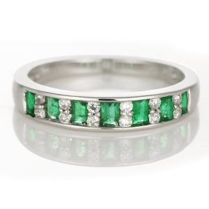 エメラルド 指輪 エメラルドリングデザイン ダイヤモンド プラチナ リング 指輪 ダイヤ リング ストレート レール留 レディース エタニティ セール|suehiro