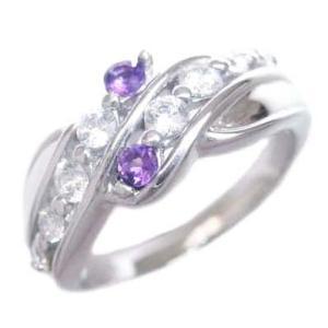 ダイヤモンド指輪 エタニティリング ダイヤモンド 2月誕生石K18ホワイトゴールド アメジスト ダイヤモンドリング 結婚 10周年【今だけ代引手数料無料】 suehiro