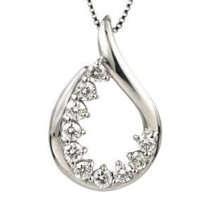 ダイヤモンド ネックレス プラチナ スイート エタニティ 10個のダイヤモンド 結婚10周年 しずく suehiro
