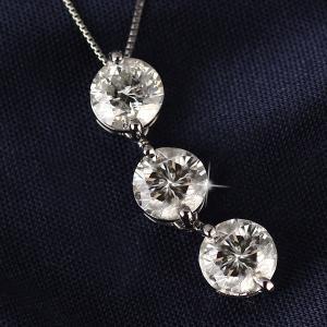 ネックレス スリーストーン ダイヤモンド ネックレス プラチナ ダイヤモンドネックレス ダイヤモンド ダイヤ 3カラット セール|suehiro