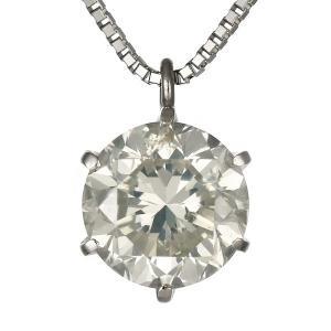 ネックレス レディース 天然石 プラチナ ダイヤモンド ネックレス ソリティア 一粒 大粒 レディース 1.5ct 1.5カラット ダイヤモンド 1カラット 以上 鑑別書付|suehiro