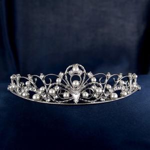 ファッションティアラ スワロフスキークリスタル パール ブライダルヘアー ロジウム仕上げ ヘアアクセサリー 結婚式 披露宴 人気|suehiro