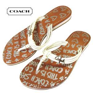 コーチ COACH サンダル レザー ポピー MOLLY Q615 サンダル トング アイボリー f0055-l09レディース ファクトリー品|suemune