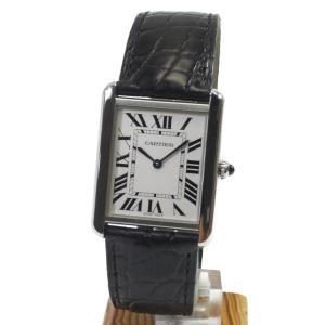 Cartier カルティエ 腕時計 タンク ソロ LM W5200003 クォーツ メンズ 革ベルト SS 黒 ブラック カルチェ