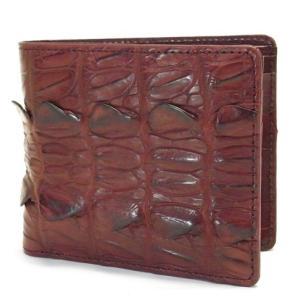 クロコダイル 二つ折り財布 ワイン メンズ 小銭入れ付き テール革 無双風|suemune