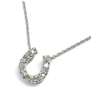 K18WG(ホワイトゴールド) ダイヤモンド ネックレス ペンダント レディース 馬蹄 ホースシュー|suemune