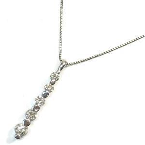 K18WG(ホワイトゴールド) ダイヤモンド ネックレス ペンダント レディース I字|suemune