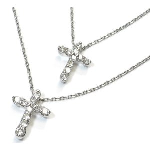 Pt900(プラチナ) ダイヤモンド ネックレス ペンダント レディース 十字架 クロスモチーフ|suemune