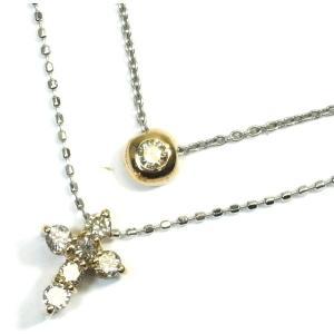 K18WG(ホワイトゴールド)/K18(ゴールド) ダイヤモンド ネックレス ペンダント レディース 2連 十字架|suemune