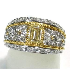 Pt900(プラチナ)/K18(ゴールド) ダイヤモンド 指輪 リング 11号 レディース|suemune