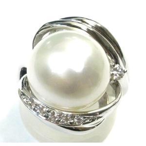 Pt900(プラチナ) パール 真珠 指輪 リング 14号 レディース|suemune