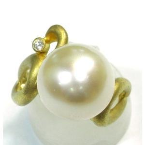 K18(ゴールド) パール 真珠 指輪 リング 13号 レディース|suemune