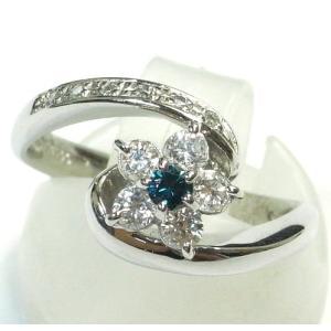 Pt900(プラチナ) ブルーダイヤモンド 指輪 リング 11号 レディース|suemune