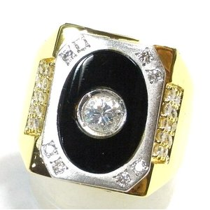 K18(ゴールド)/Pt900(プラチナ) ダイヤモンド 指輪 リング 18号 メンズ|suemune
