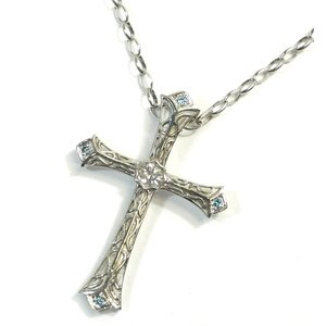 K18WG(ホワイトゴールド) ダイヤモンド ネックレス ペンダント レディース 十字架|suemune