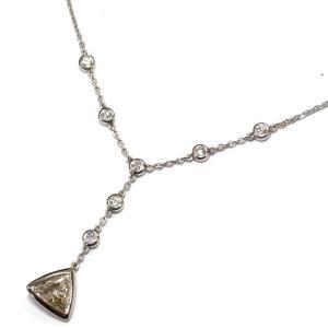 Pt900(プラチナ) ダイヤモンド ネックレス ペンダント レディース  4月誕生石 トライアングル 三角 Y字|suemune