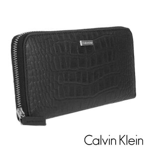 Calvin Klein カルバンクライン 長財布 レザー クロコダイル風 型押し ブラック 79511 メンズ スキミング防止|suemune