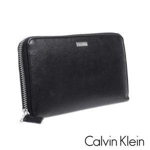 Calvin Klein カルバンクライン 長財布 レザー ブラック 79441 メンズ スキミング防止|suemune