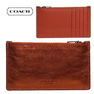 COACH コーチ カードケース グラブタンレザー メタリックブリック×バーミリオン 22879-mwx ブティック品 メンズ|suemune