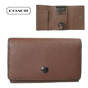 COACH コーチ IDケース クロスグレイン レザー 5リングキーケース ブラウン F73992-nicwh レディースファクトリー品|suemune