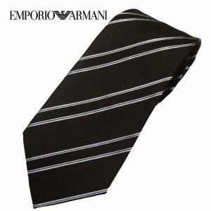 EMPORIO ARMANI エンポリオアルマーニ ネクタイ ストライプ ブラック 340182 8a402 メンズ|suemune