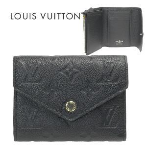 ルイヴィトン 三つ折り財布 モノグラム・アンプラント ポルトフォイユ・ヴィクトリーヌ ブラック m64060 LOUIS VUITTON レディース かぶせ式|suemune