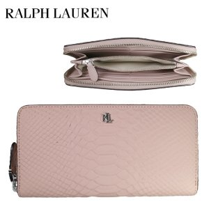 RALPH LAUREN ラルフローレン 長財布 ウンドファスナー レザー ヘビ柄 ピンク レディース|suemune