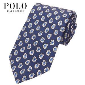 ポロ・ラルフローレン POLO RALPH LAUREN ネクタイ 小紋柄 パイン柄 ネイビー シルク100% 大剣幅約8cm イタリア製 メンズ suemune
