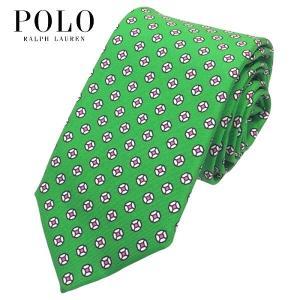 ポロ・ラルフローレン POLO RALPH LAUREN ネクタイ 小紋柄 グリーン シルク100% 大剣幅約8cm イタリア製 メンズ suemune