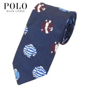 ポロ・ラルフローレン POLO RALPH LAUREN ネクタイ 小紋柄 ラガーシャツ柄 個性的 ネイビー シルク100% 大剣幅約8cm イタリア製 メンズ suemune