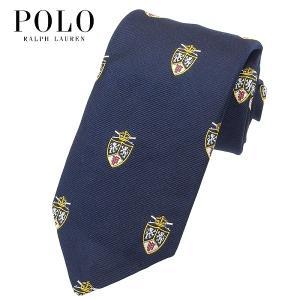 ポロ・ラルフローレン POLO RALPH LAUREN ネクタイ クレスト柄 紋章柄 ネイビー シルク100% 大剣幅約8cm イタリア製 メンズ suemune