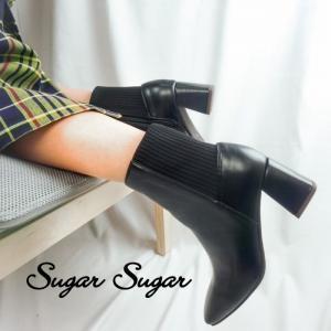≪予約商品 T-POINT5倍≫【SUGARSUGAR★シュガーシュガー】スクエアトゥニットブーツ(11月下旬お届け予定)|sugar-sugar