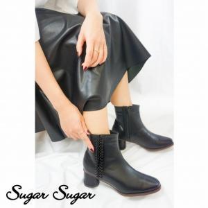 ≪一部予約商品 T-POINT5倍≫【SUGARSUGAR★シュガーシュガー】スクエアトゥサイドデザインブーツ(予約サイズは11月下旬お届け予定)|sugar-sugar