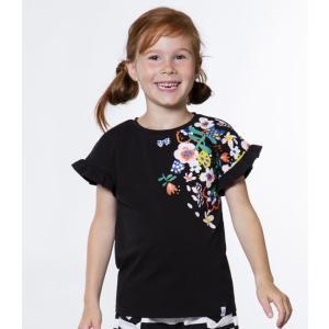 Deux par Deux (デューパーデュー)Black T-Shirt With Floral Print And Frills 20%Off|sugardays