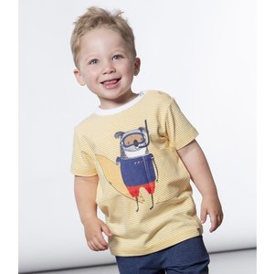 Deux par Deux (デューパーデュー)Yellow Striped T-Shirt With Animal Ready To Surf Print (Baby size)|sugardays