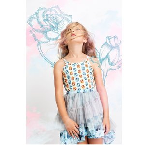 Paper Wings(ペーパーウィングス)Frilled skirt-vintage blue rose 20%Off|sugardays