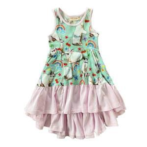 Paper Wings(ペーパーウィングス)Frilled Singlet Bustle Dress-Easter Blinng グリーン|sugardays