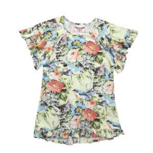 Paper Wings(ペーパーウィングス)FrilledJerse ySmock Dress-Summer Floral sugardays
