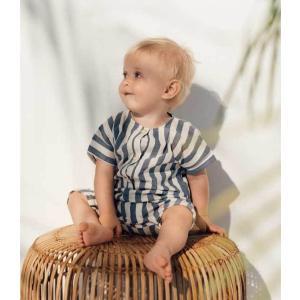 Hebe【ヘベ】Blue stripes ショートロンパース|sugardays