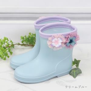 panpantutu【パンパンチュチュ】ショートレインブーツ/お花畑 クリームブルー sugardays