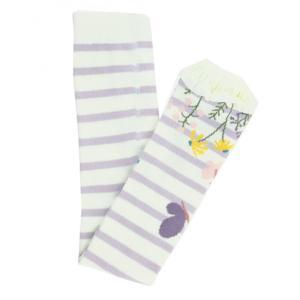 RuffleButts(ラッフルバッツ)Misty lilac & Ivory stripe Floral-フットレスニットタイツ|sugardays
